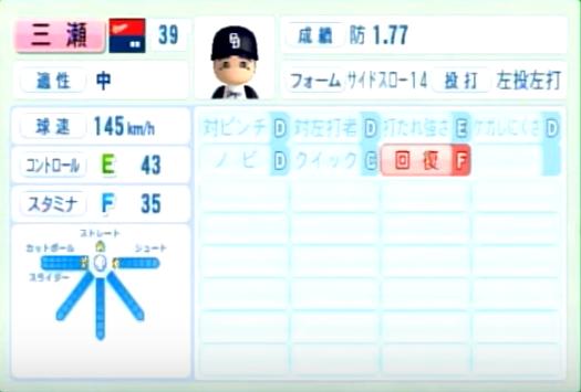 三瀬_中日ドラゴンズ_パワプロ能力データ_2014年シーズン終了時