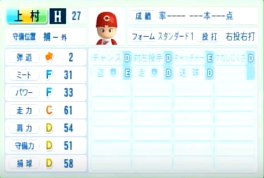 上村_広島カープ_パワプロ能力データ_2014年シーズン終了時