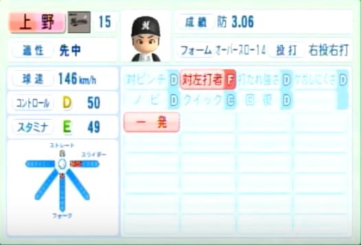 上野_千葉ロッテマリーンズ_パワプロ能力データ_2014年シーズン終了時