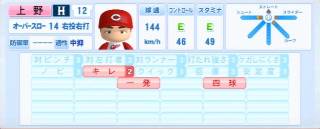 上野_広島カープ_パワプロ能力データ_2013年シーズン終了時
