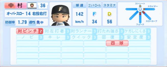 中村勝_日本ハムファイターズ_パワプロ能力データ_2013年シーズン終了時