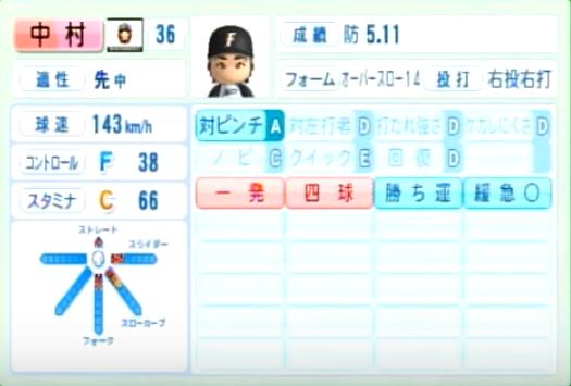 中村_日本ハムファイターズ_パワプロ能力データ_2014年シーズン終了時
