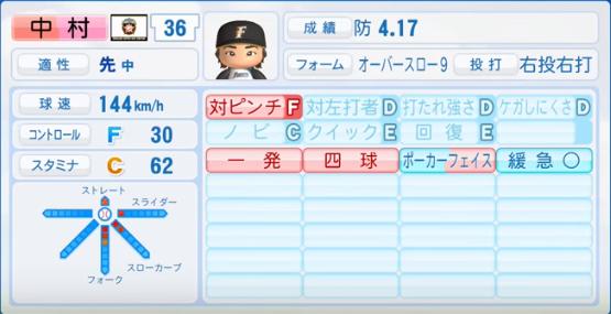 中村_日本ハムファイターズ_パワプロ能力データ_2016年シーズン終了時