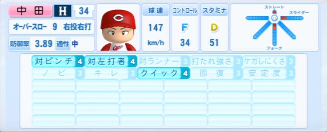 中田廉_広島カープ_パワプロ能力データ_2013年シーズン終了時