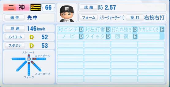 二神_阪神タイガース_パワプロ能力データ_2016年シーズン終了時