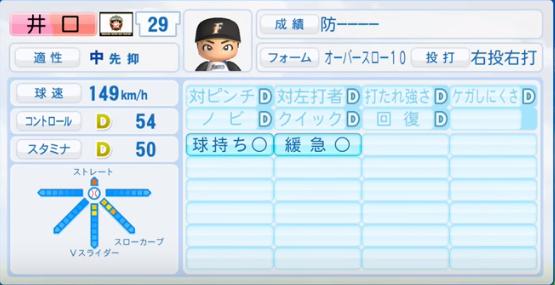 井口_日本ハムファイターズ_パワプロ能力データ_2016年シーズン終了時