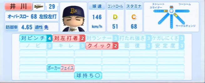 井川慶_オリックスバファローズ_パワプロ能力データ_2013年シーズン終了時