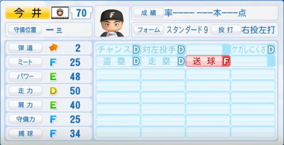 今井_日本ハムファイターズ_パワプロ能力データ_2017年シーズン終了時