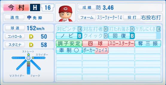 今村_広島カープ_パワプロ能力データ_2016年シーズン終了時