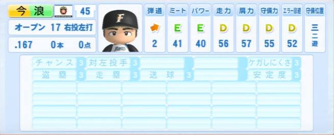 今浪_日本ハムファイターズ_パワプロ能力データ_2013年シーズン終了時