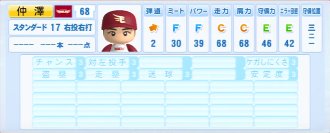 仲澤_楽天イーグルス_パワプロ能力データ_2013年シーズン終了時