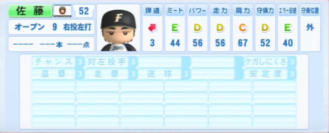 佐藤_日本ハムファイターズ_パワプロ能力データ_2013年シーズン終了時