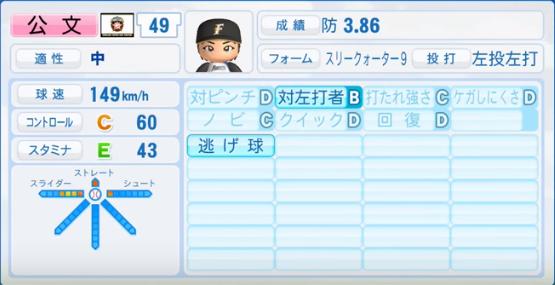 公文_日本ハムファイターズ_パワプロ能力データ_2017年シーズン終了時