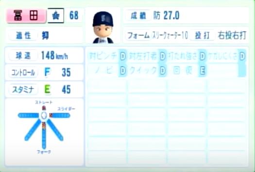 冨田_横浜DeNAベイスターズ_パワプロ能力データ_2014年シーズン終了時