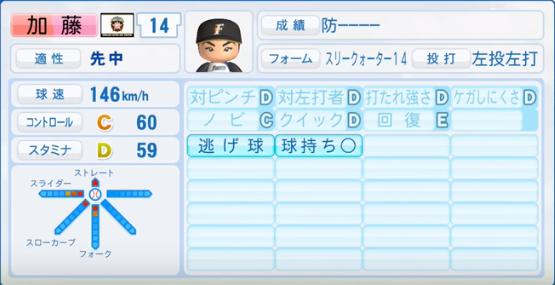 加藤_日本ハムファイターズ_パワプロ能力データ_2016年シーズン終了時