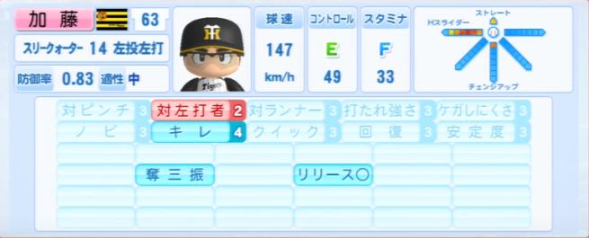 加藤_阪神タイガース_パワプロ能力データ_2013年シーズン終了時