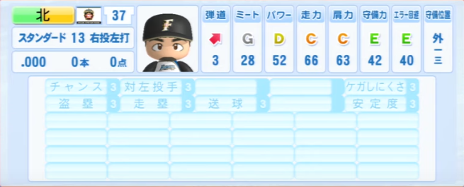 北_日本ハムファイターズ_パワプロ能力データ_2013年シーズン終了時