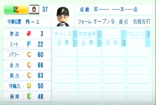 北_日本ハムファイターズ_パワプロ能力データ_2014年シーズン終了時
