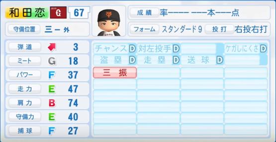 和田恋_巨人_パワプロ能力データ_2017年シーズン終了時