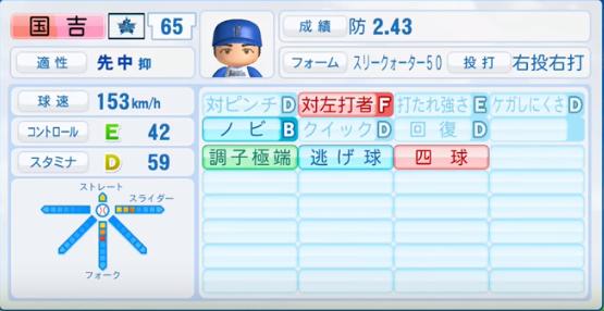 国吉_横浜DeNAベイスターズ_パワプロ能力データ_2016年シーズン終了時