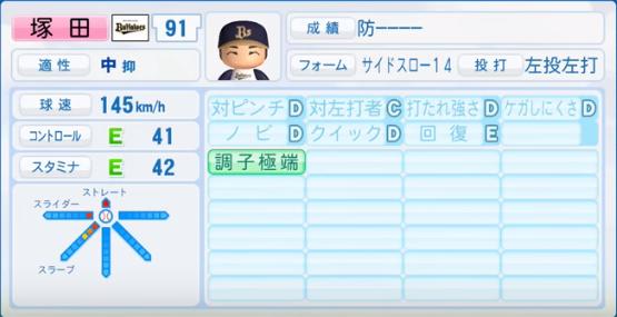 塚田_オリックスバファローズ_パワプロ能力データ_2016年シーズン終了時