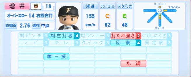 増井_日本ハムファイターズ_パワプロ能力データ_2013年シーズン終了時