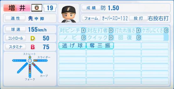 増井_日本ハムファイターズ_パワプロ能力データ_2016年シーズン終了時
