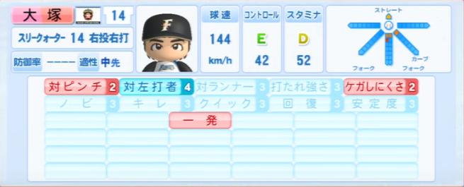 大塚_日本ハムファイターズ_パワプロ能力データ_2013年シーズン終了時