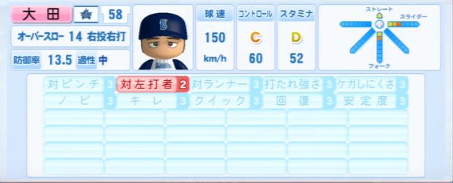 大田_横浜DeNAベイスターズ_パワプロ能力データ_2013年シーズン終了時