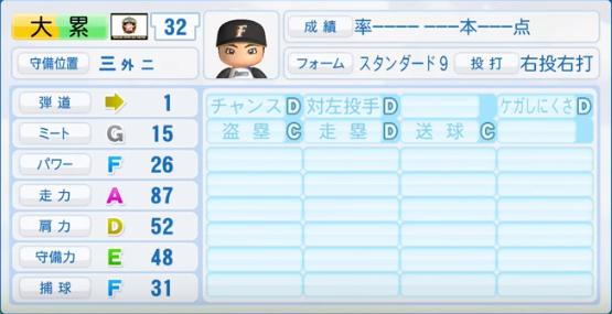 大累_日本ハムファイターズ_パワプロ能力データ_2016年シーズン終了時