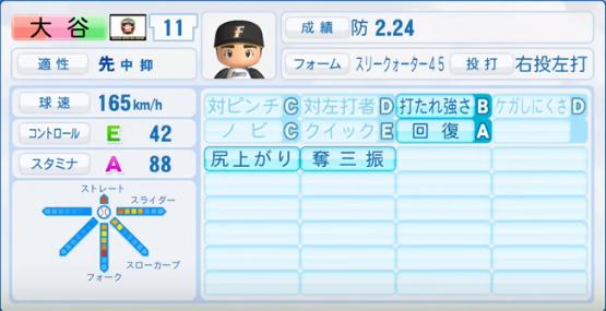 大谷翔平(投手能力)_日本ハムファイターズ_パワプロ能力データ_2016年シーズン終了時