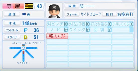 守屋功輝_阪神タイガース_パワプロ能力データ_2016年シーズン終了時