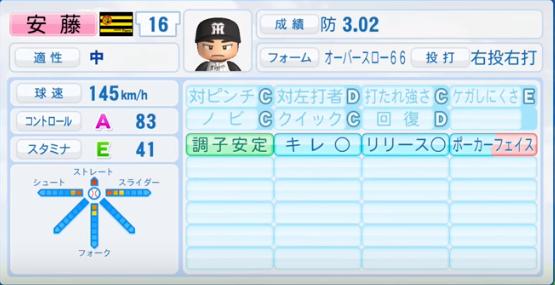 安藤優也_阪神タイガース_パワプロ能力データ_2016年シーズン終了時