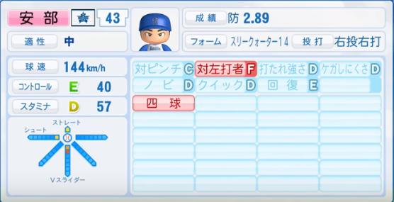 安部_横浜DeNAベイスターズ_パワプロ能力データ_2016年シーズン終了時