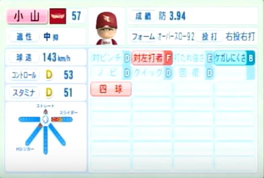 小山伸一郎_楽天イーグルス_パワプロ能力データ_2014年シーズン終了時
