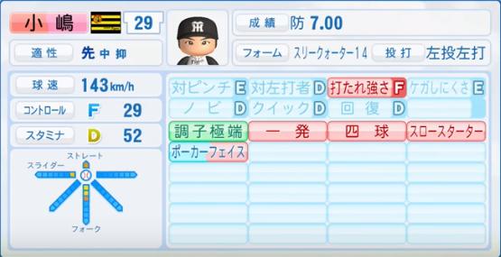 小嶋_阪神タイガース_パワプロ能力データ_2016年シーズン終了時