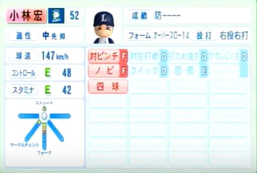 小林宏_西武ライオンズ_パワプロ能力データ_2014年シーズン終了時