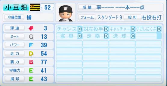 小豆畑_阪神タイガース_パワプロ能力データ_2016年シーズン終了時