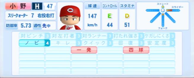 小野_広島カープ_パワプロ能力データ_2013年シーズン終了時