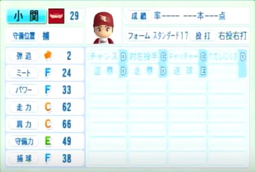 小関_楽天イーグルス_パワプロ能力データ_2014年シーズン終了時