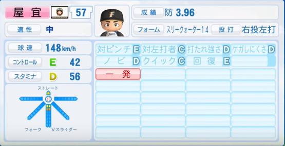 屋宜_日本ハムファイターズ_パワプロ能力データ_2016年シーズン終了時