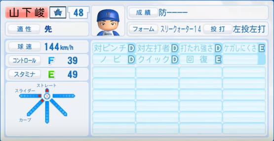 山下峻_横浜DeNAベイスターズ_パワプロ能力データ_2016年シーズン終了時