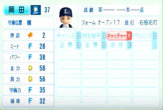 岡田雅利_西武ライオンズ_パワプロ能力データ_2014年シーズン終了時