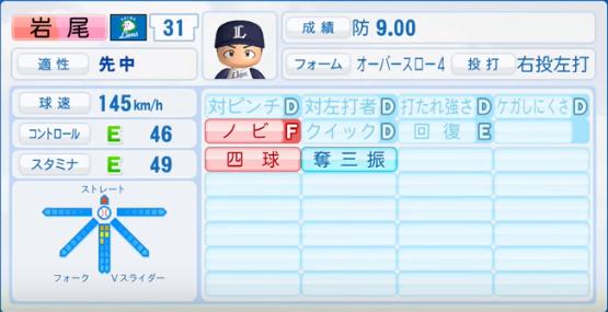 岩尾_西武ライオンズ_パワプロ能力データ_2017年シーズン終了時