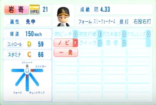岩嵜_ソフトバンクホークス_パワプロ能力データ_2014年シーズン終了時