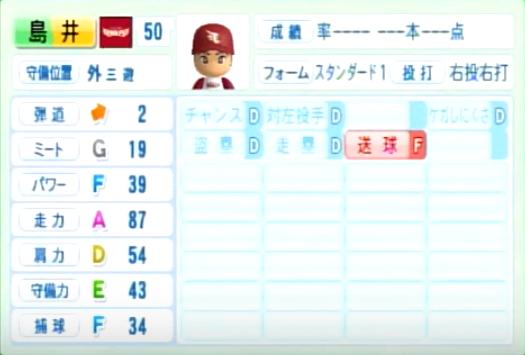 島井_楽天イーグルス_パワプロ能力データ_2014年シーズン終了時