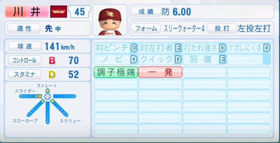 川井_楽天イーグルス_パワプロ能力データ_2016年シーズン終了時