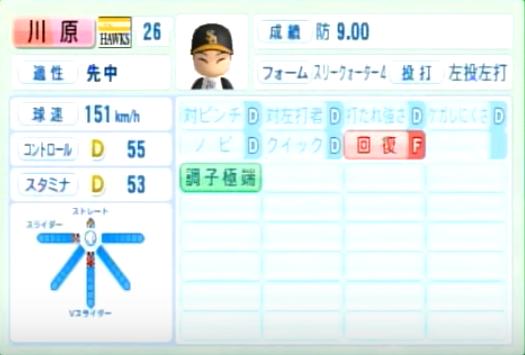 川原_ソフトバンクホークス_パワプロ能力データ_2014年シーズン終了時