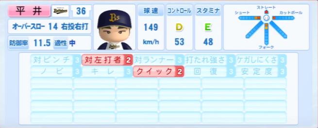 平井_オリックスバファローズ_パワプロ能力データ_2013年シーズン終了時