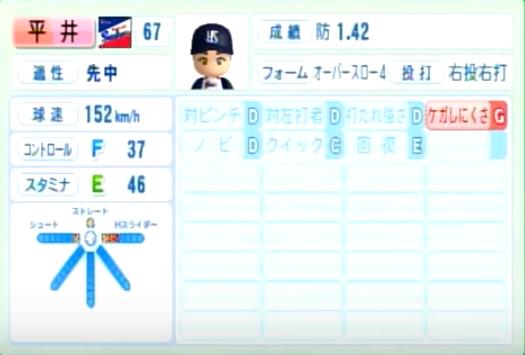 平井_ヤクルトスワローズ_パワプロ能力データ_2014年シーズン終了時